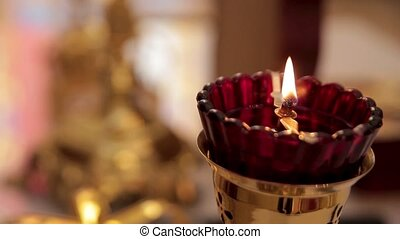 candles and lamp close-up. Interior Of Orthodox Church In Easter. baby christening. Ceremony a in Christian .