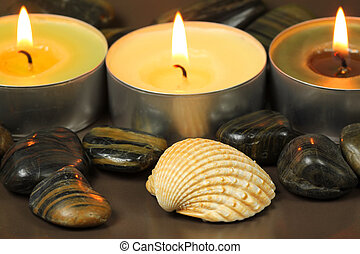 Candles and shell in spa
