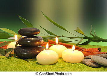 candles and stones for massage