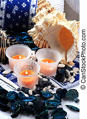 Candles and two shells