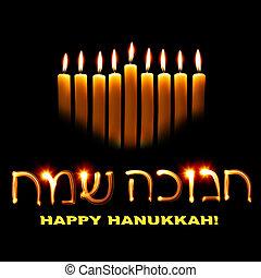 Happy Hanukkah - Candles and wishes Happy Hanukkah in Hebrew