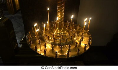 candles at the icon in the Kazan Cathedral