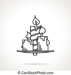 Candles black line vector icon