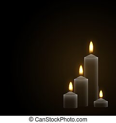 Candles burn with fire realistic. Set isolated on transparent background.