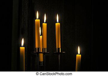 Candles burning in a room - Candles burning in a dark room...