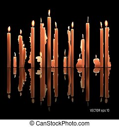 Candles burning, melting, yellow colored. Vector Illustration