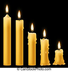Candles burning. Romantic holiday candlelight different burn stages collection, birthday wax 3d burnout paraffin candle with flickering fire. Vector realistic 3d isolated on black background set