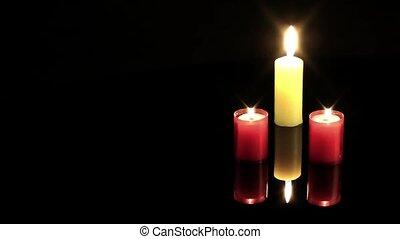 Candles Celebration or Romantic Mood on Black Background