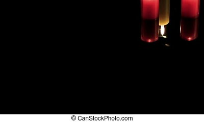 Candles Celebration or Romantic Mood on Black Background