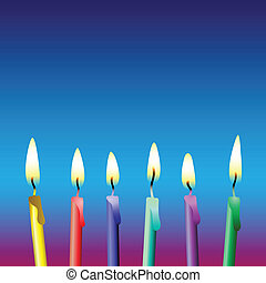 Candles - Six Vector Birthday Candles