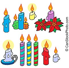 Candles collection - isolated illustration.