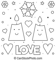 Candles. Coloring page. Black and white vector illustration.