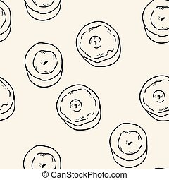 Candles comic style doodles top view seamless pattern. Cozy boho template texture background tile
