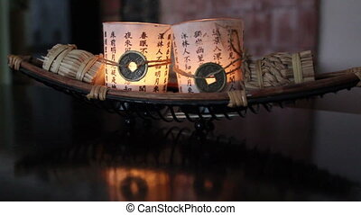 Candles decorated on top of a table