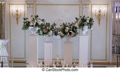 Candles decoration at wedding ceremony