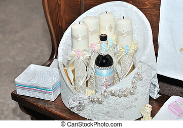 Candles during orthodox christening baptism.