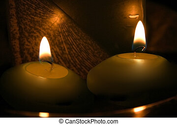 Candles - Extreme close up of two burning candle