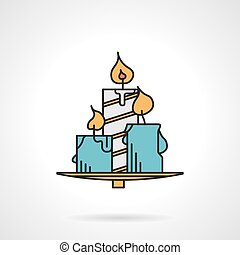 Candles flat color vector icon