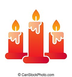 Candles flat icon. Three burning candle symbol, gradient style pictogram on white background. Christmas holiday sign for mobile concept and web design. Vector graphics.