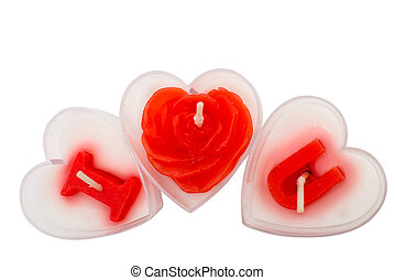 candles for Valentine's Day isolated