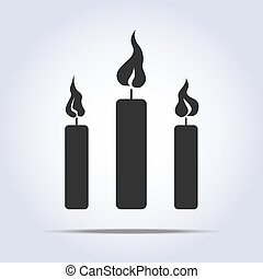 candles icon - three candles icon in vector with flame