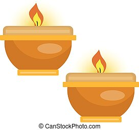 Candles icon, flat style. Isolated on white background. Vector illustration.