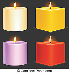 Candles. - Set of 4 color candles.