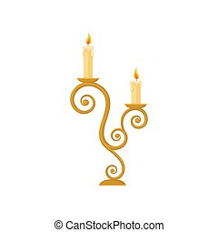 Candles in a candlestick, curve vintage golden candle holder vector Illustration on a white background