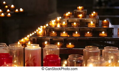Candles in a church - Shot of Candles in a church
