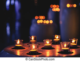 Candles in a row in Spa Zone