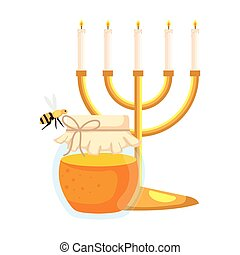 candles in candlesticks with honey jar and bee flying, on white background