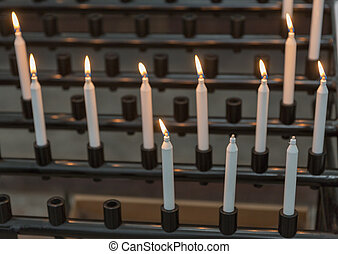 candles in cathedral - religion background