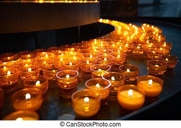 Candles in church of Wurzburg, Bavaria, Germany