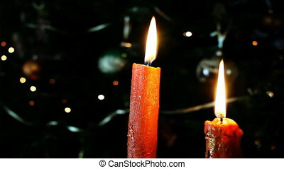 Candles in front of Christmas tree