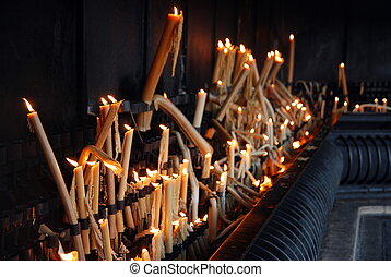 Candles in Sanctuary of Fatima in Portugal