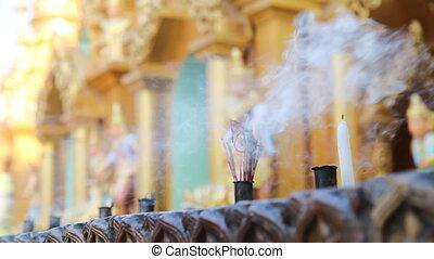 Candles in Shwedagon Pagoda