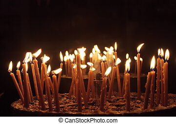 Candles in the Church of the Nativity, Bethlehem, Palestine