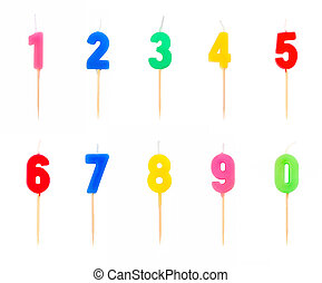 Candles in the form of figures (numbers, dates) for cake isolated on white background. The concept of celebrating a birthday, anniversary, important date, holiday, table setting, cake decoration