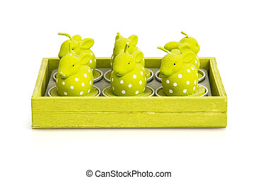 Candles in the shape of easter bunnies