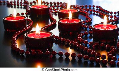 candles., navidad, rojo