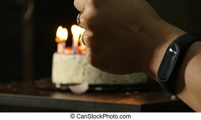 candles on a birthday cake, candles extinguished. celebration concept. slow motion