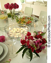 Candles on a party table