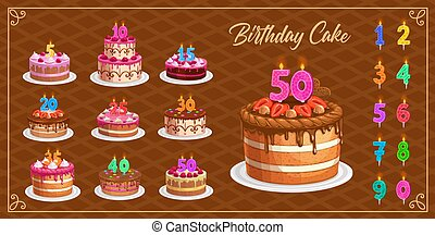Candles on birthday cakes with age numbers from one to ten isolated vector icons. Happy birthday, party celebration. Cupcakes and colorful candle digits with fire light, anniversary candlelights set