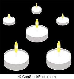Candles on black background.