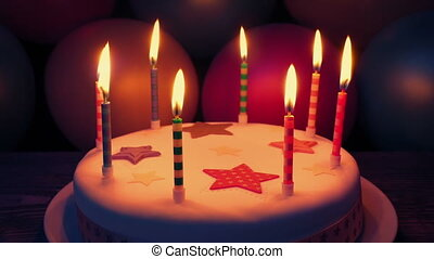 Candles On Cake At Birthday Party