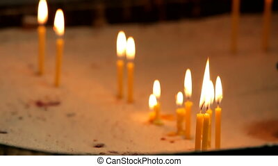 Candles on the altar - A few candles sticking out of the...