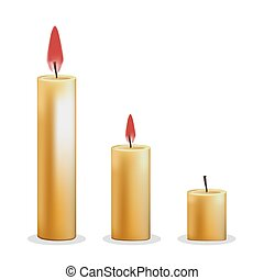 Candles on white background. Vector illustration in trendy flat style. ESP 10.