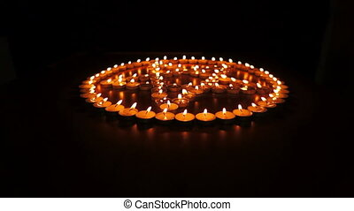 Candles Pentagram Dolly - Circular, shallow depth of field,...