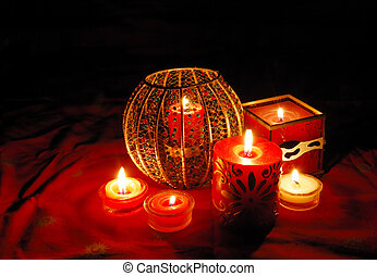 Candles - Decorative candles are glowing in the dark