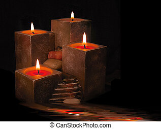 Candles with running water